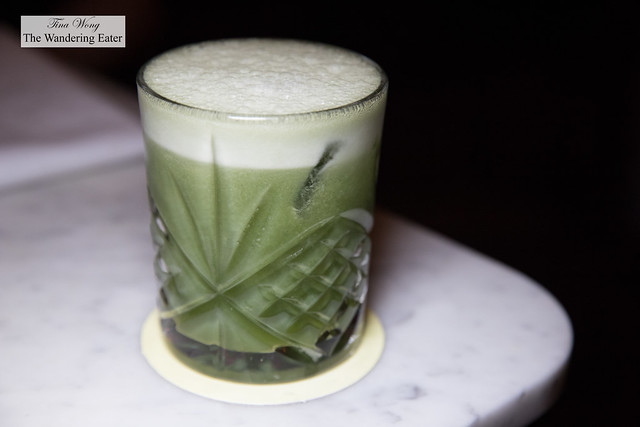 I Like to Matcha - Barstol pisco, Don Q añejo rum,.pineapple syrup, matcha chamomile syrup, lime juice, chocolate bitters, tonka beans tincture