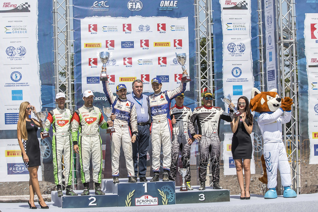 MAGALHAES Bruno (prt), MAGALHAES Hugo (prt), SKODA FABIA R5, portrait HERCZIG Norbert (hun), FERENCZ Ramon (hun), SKODA FABIA R5, portrait  PTASZEK Hubert (pol), SZCZEPANIAK Maciej (pol), Skoda Fabia R5, portrait  podium ambiance during the European Rally Championship 2018 - Acropolis Rally Of Grece, June 1 to 3 at Lamia - Photo Gregory Lenormand / DPPI