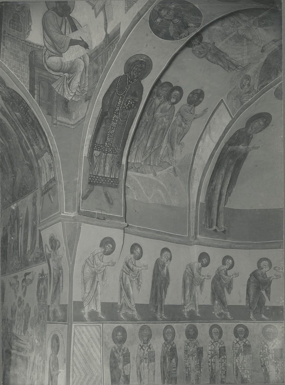 Фрески  северного склона центральной апсиды  Спасо-Преображенского собора Мирожского монастыря