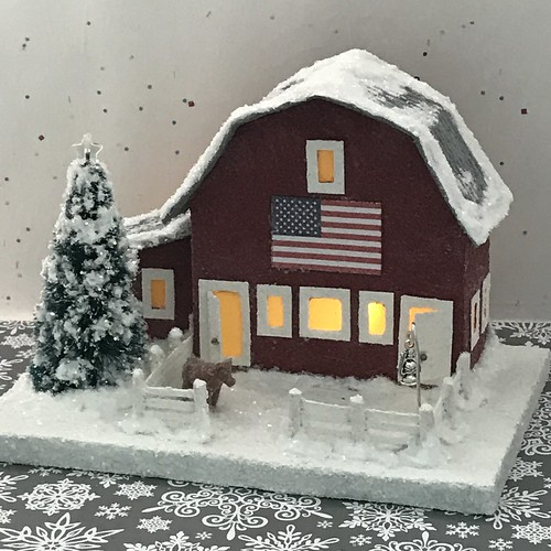 Putz Barn with Flag