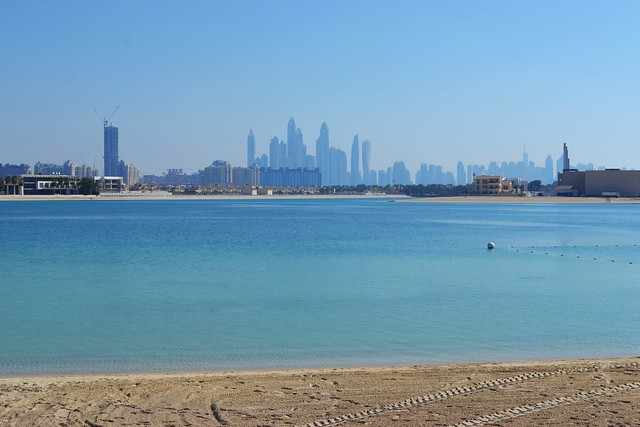 Dubai Marina Skyline From Aquaventure Beach