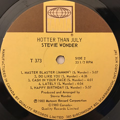 STEVIE WONDER:HOTTER THAN JULY(LABEL SIDE-B)