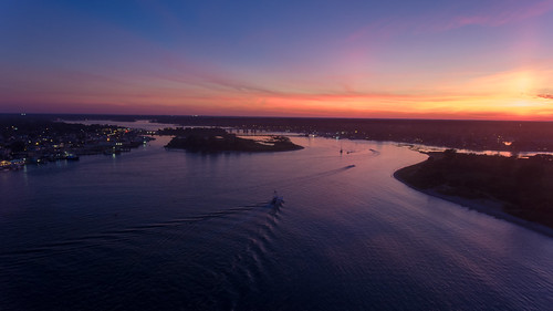 Post-sunset sky over the Manasquan River, captured by a DJI Phantom 4 drone.