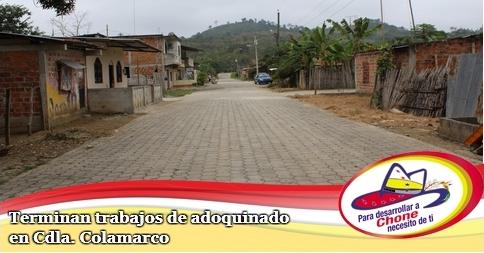 Terminan trabajos de adoquinado en Cdla. Colamarco