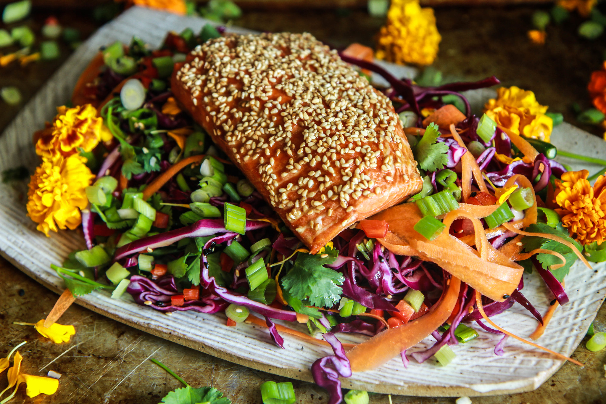 Sesame Crusted Roasted Salmon from HeatherChristo.com