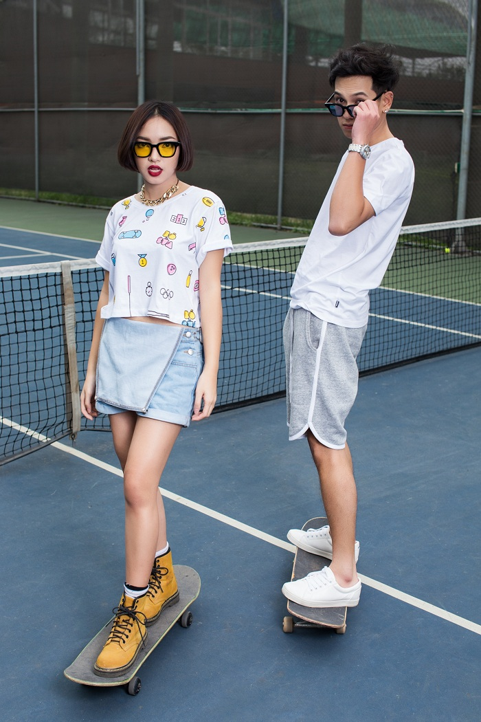 Chau Bui unique alternative to soft pop and trousers croptop cow
