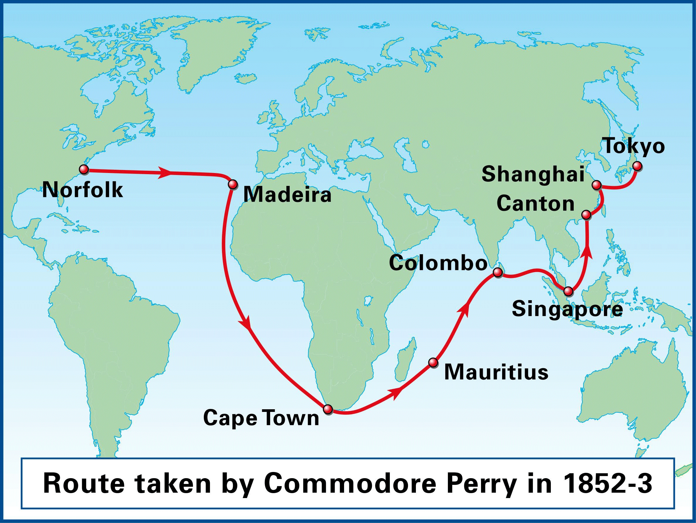 Route taken by Commodore Matthew Perry and the East Asia Fleet from Norfolk, Virginia, to Edo Bay, Japan, November 1852 to July 1853.