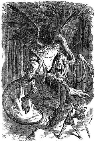 Jabberwocky (1871), desenho de John Tenniel para a primeira edição de Alice através do espelho, de Lewis Carroll