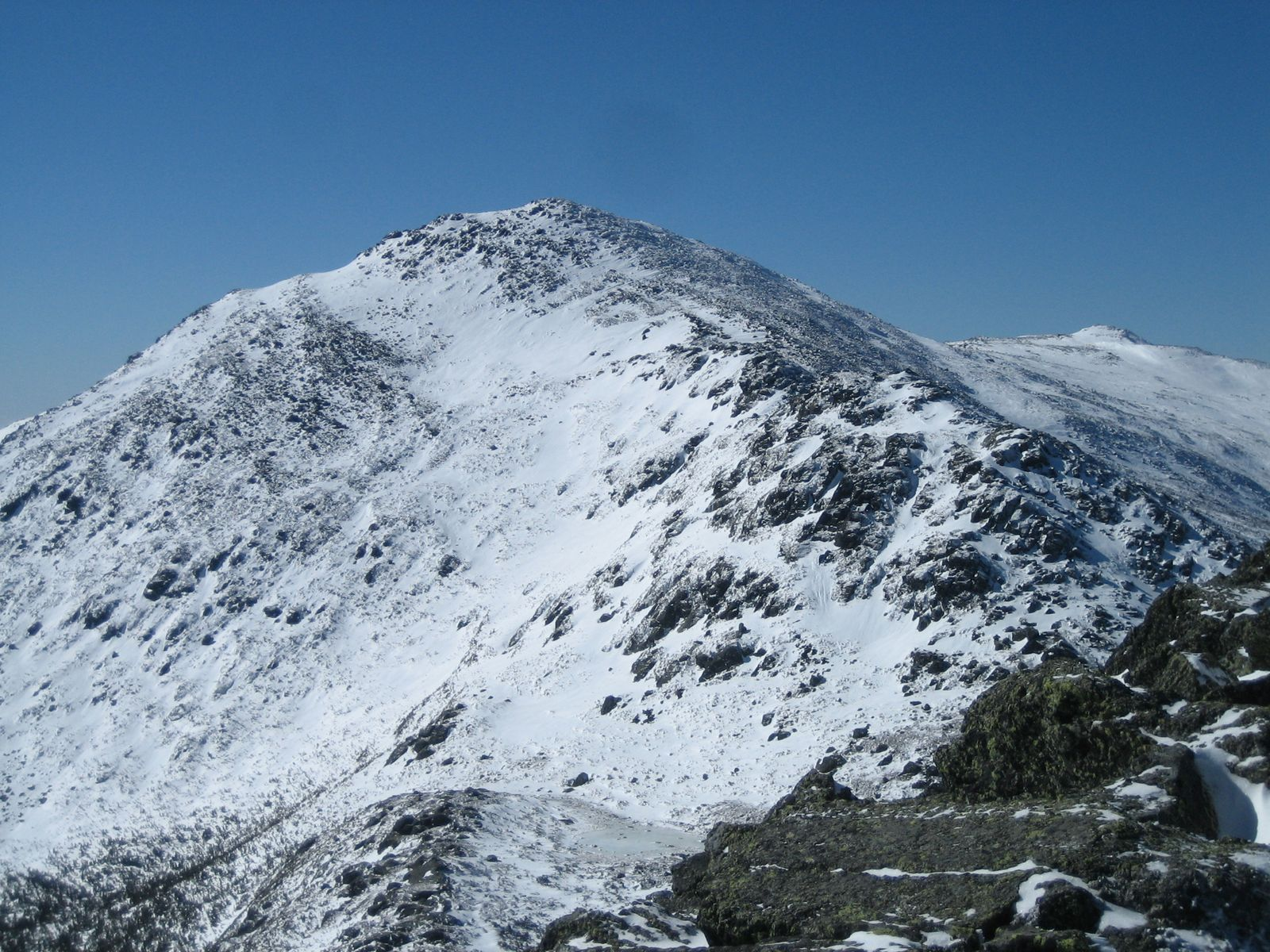 Mount Adams (5,774 ft or 1,760 m) as viewed from Mount Madison. It is part of New Hampshire's Presidential Range. Photo taken on February 24, 2008.