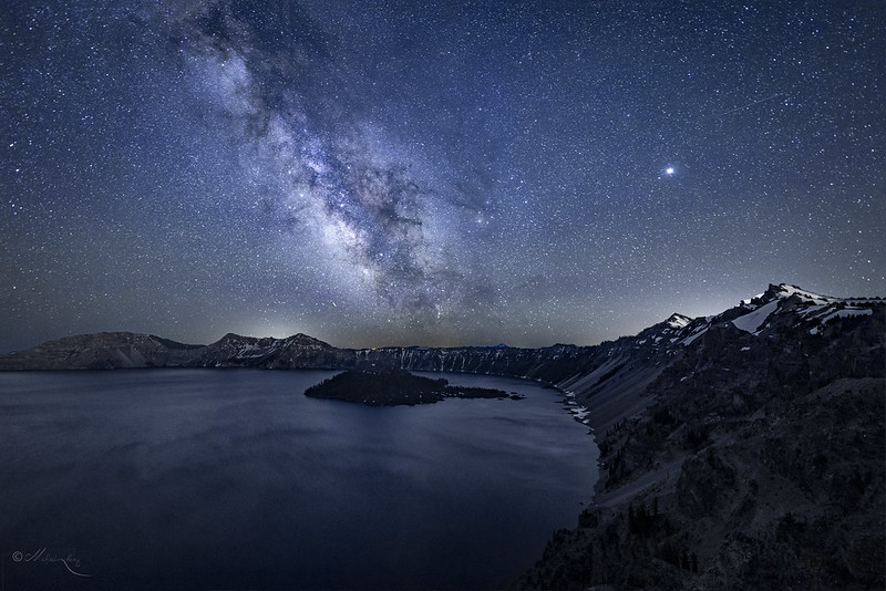 Crater Lake Under The Night Sky