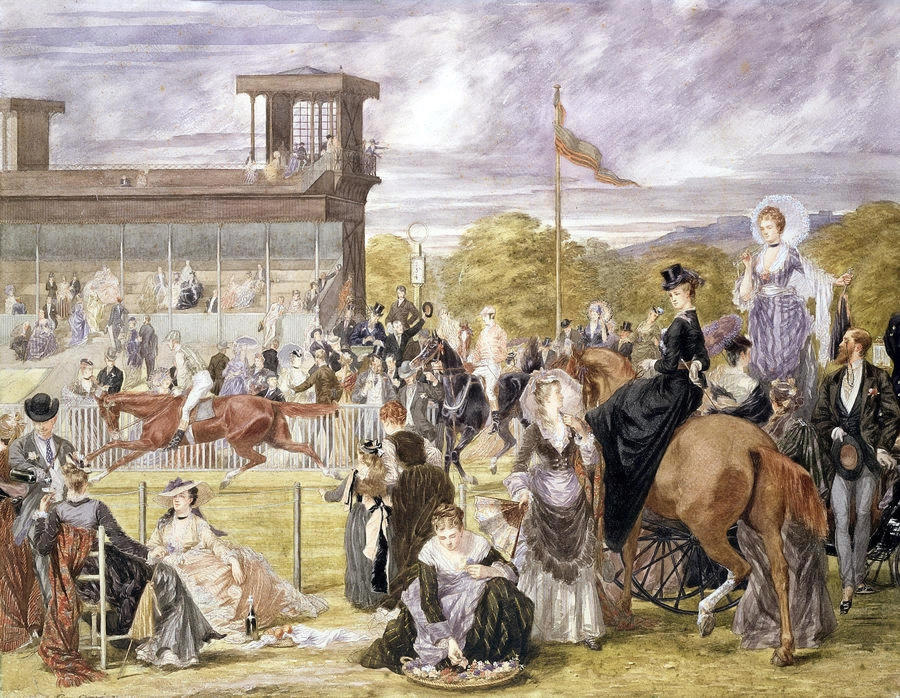 The Races At Longchamp In 1874 by Pierre Gavarni (1846 - 1932)