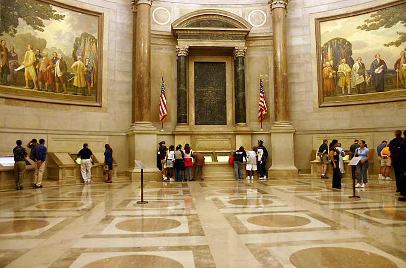 Rotunda for the charters of Freedom at National Archives (NARA) building in Washington, D.C. Here displayed are the Declaration of Independence, the Bill of Rights, and the U.S. Constitution. Photo taken by Kelvin Kay on May 21, 2004.