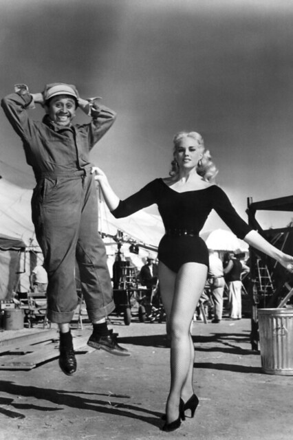 Larri Thomas and Pedro Gonzales-Gonzales clowning around on-set for Ring of Fear (1954)