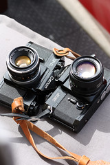 Canon F-1 and Canon EF