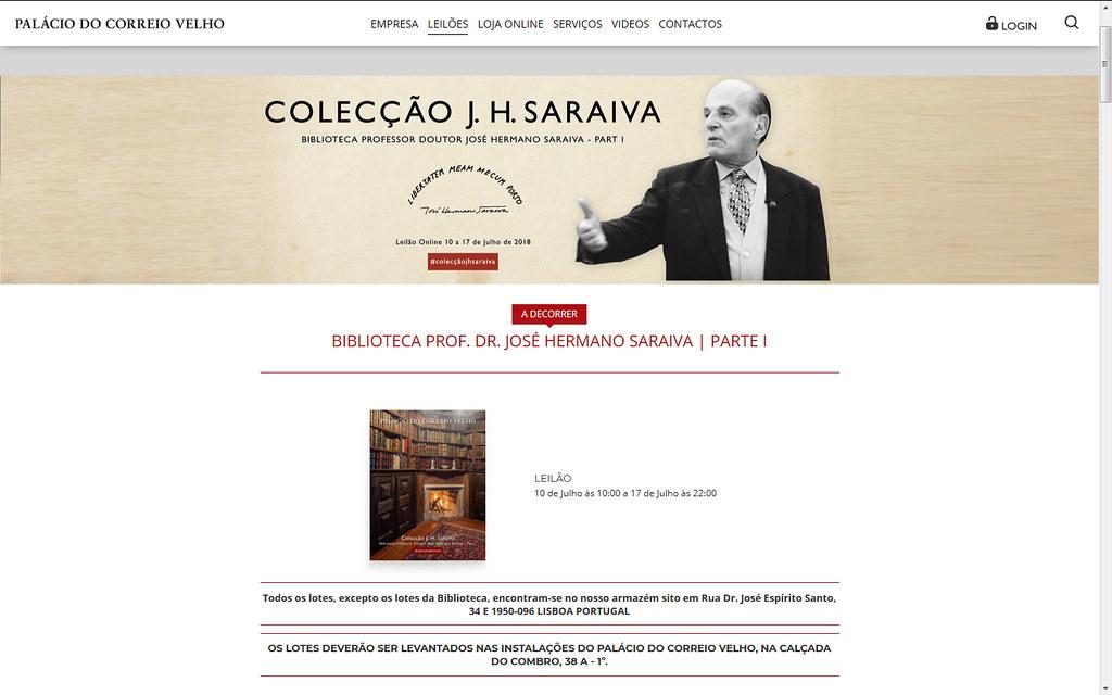 Mariana Pereira, «A biblioteca de Hermano Saraiva pode ser licitada num 'click'», Diário de Notícias, 16/7/2018