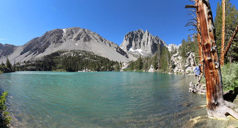 Panorama view of First Lake with Temple Crag and Buck Peak