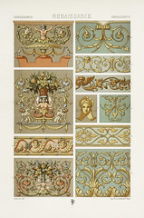 Renaissance pattern from L'ornement Polychrome (1888) by Albert Racinet (1825–1893). Digitally enhanced from our own original 1888 edition.