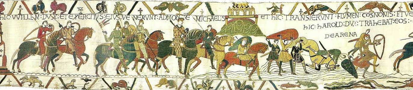 Bayeux Tapestry scenes 16 and 17: William and Harold at Mont Saint-Michel (at top centre); Harold rescuing knights from quicksand.