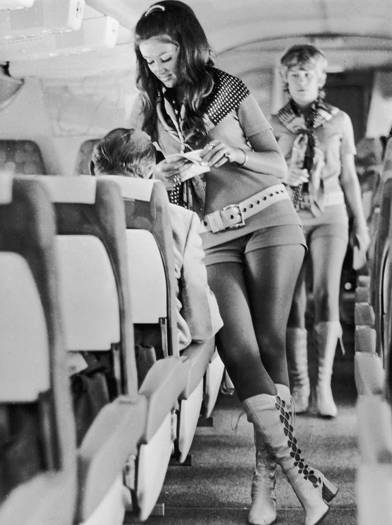 Stewardesses working for Southwest Airlines of Texas wear hot pants and leather boots n 1972. The airline's motto was sex sells seats