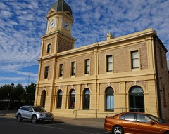 Moonta. Old copper mining town on Yorke Peninsula. The grand Town Hall and clock tower. Built 1885. Tower added 1907.Built as the town institute. Became Town Hall after 1907.