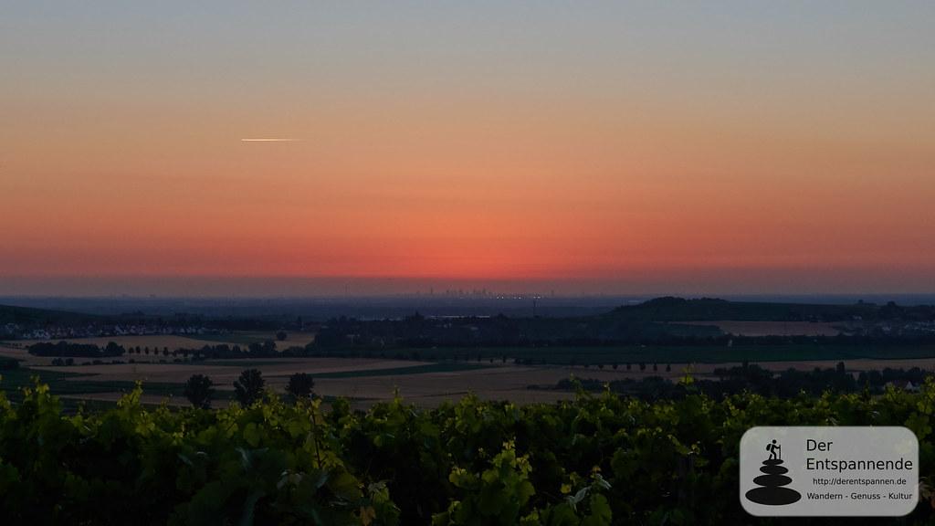 Morgenrot über Frankfurter Skyline