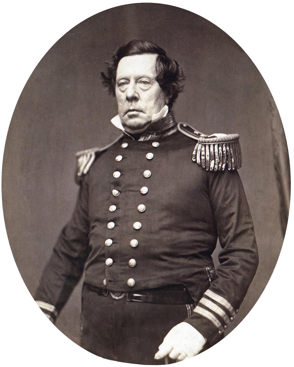 Commodore Matthew Calbraith Perry, USN. Photograph by Matthew Brady, circa 1856-1858.