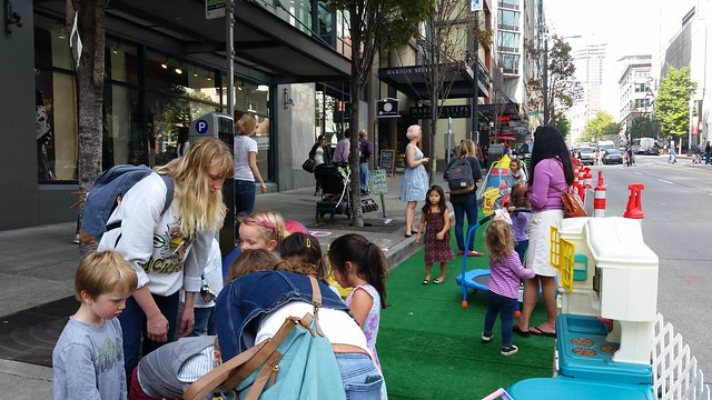 A pop-up park with games for children