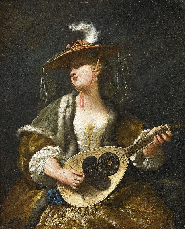 Jean Barbault - A Lady playing a Mandolin