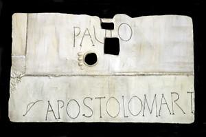 inscriptia de la mormantul Sfantului Pavlos