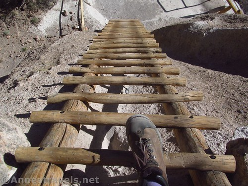 Descending one of the Alcove House ladders, Bandelier National Monument, New Mexico