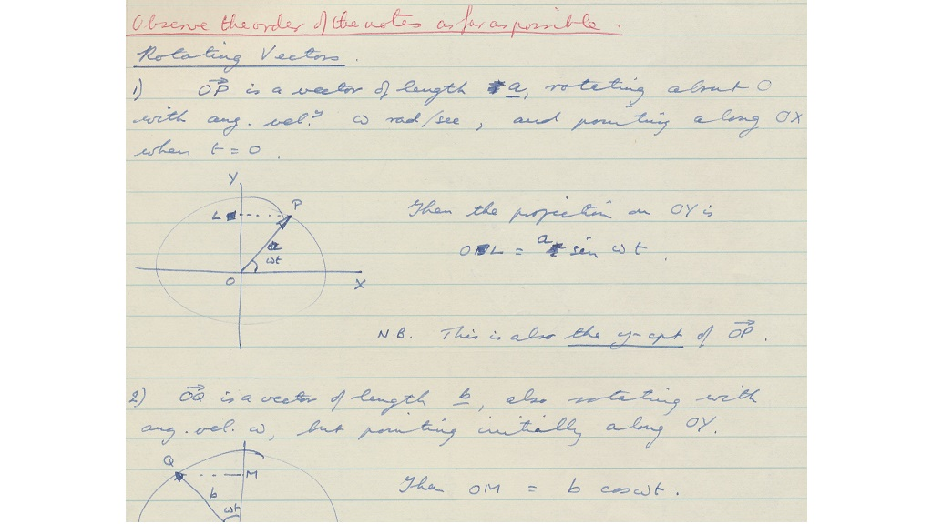 Lectures notes, nd c 1970s (Wicks C/1)