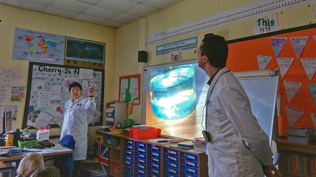 Crystal demonstration in the classroom.