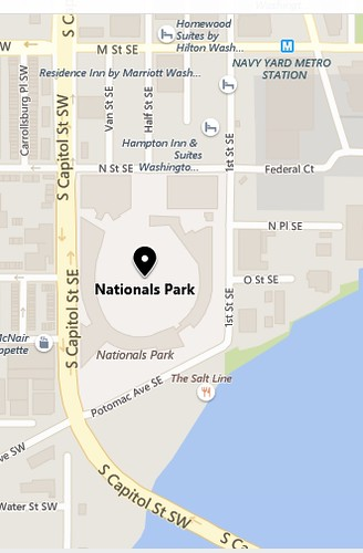 Map around the Washington Nationals Stadium