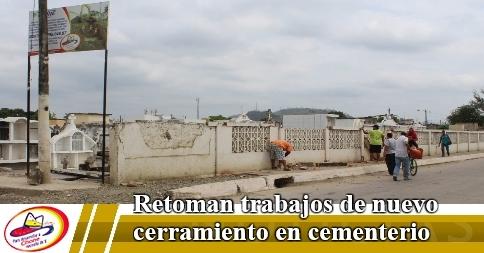 Retoman trabajos de nuevo cerramiento en cementerio