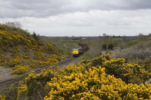 086 on Waterford-Westport empty timber train near Clara 03-May-13