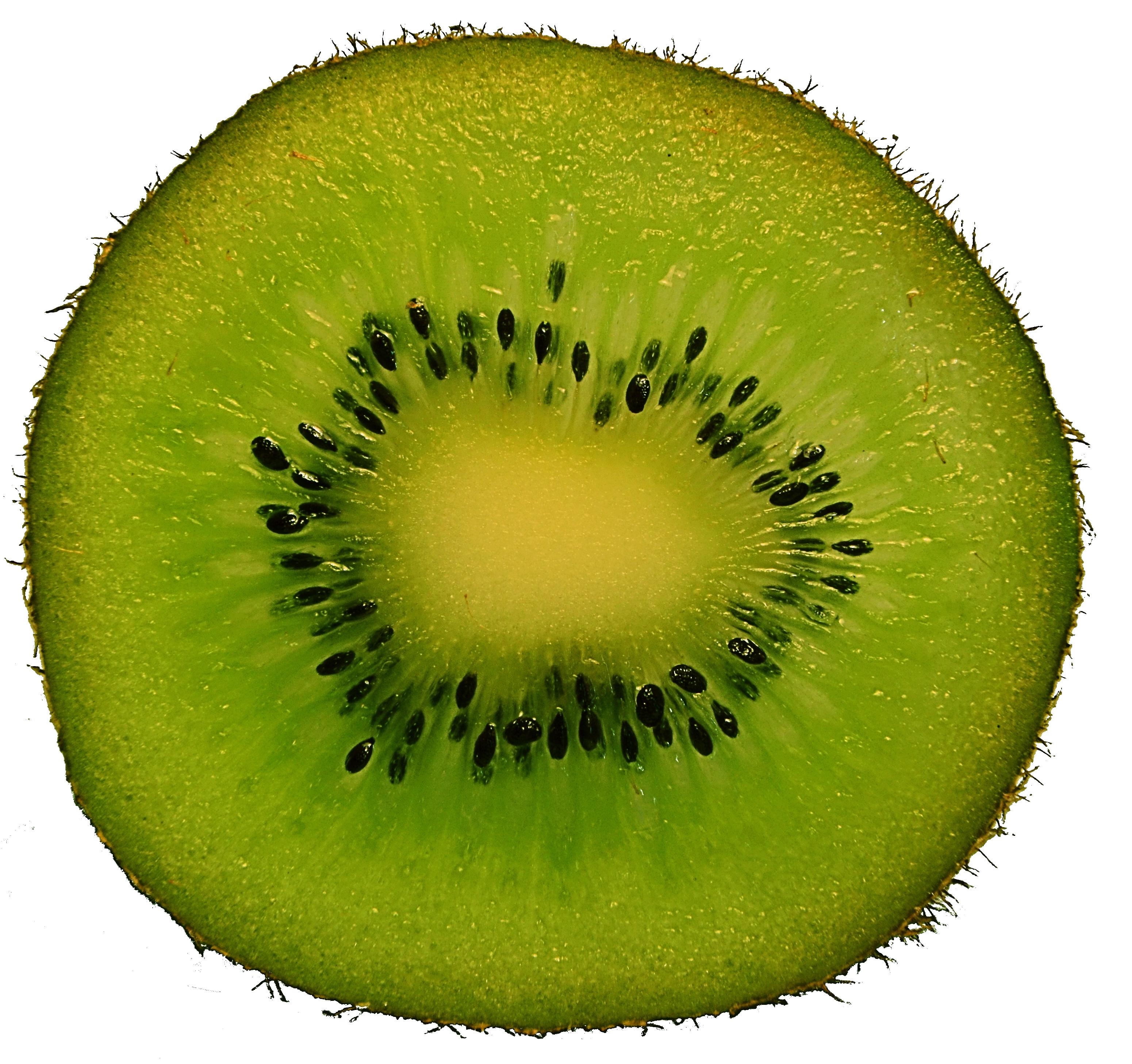 A sliced kiwifruit. Photo taken on March 28, 2015.