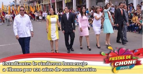 Estudiantes le rindieron  homenaje a Chone por 121 años de cantonización