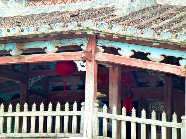 Detailed architectural work on the covered Japanese Bridge Chua Cau,  in Hoi An then called  Hai Pho in Central Vietnam