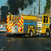 Clark County Fire Engine 25 arrives on a vehicle fire, on East Tropicana Ave, South east Las Vegas Nevada.