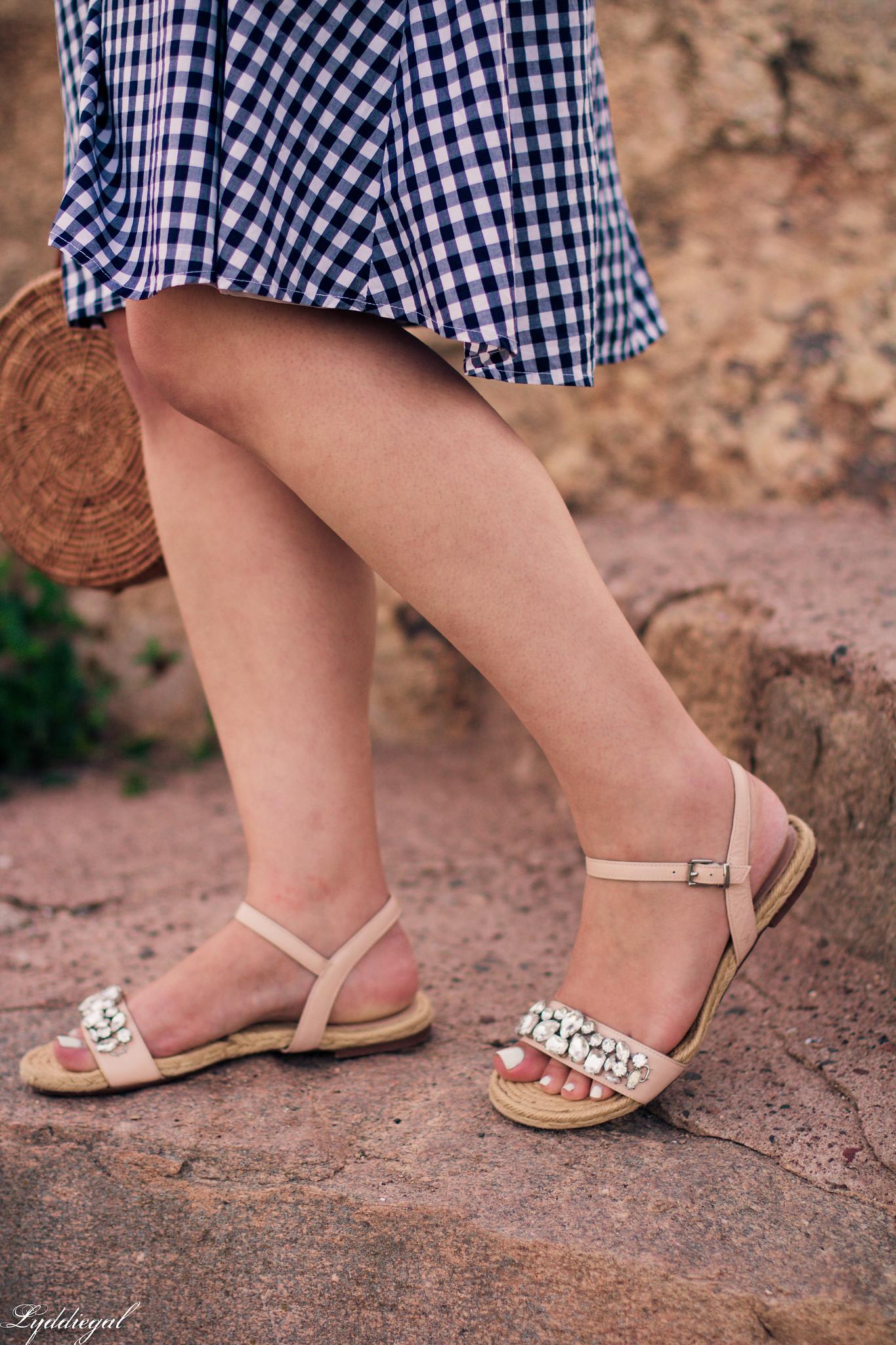 Gingham Dress, Round Straw Bag, Jeweled Sandals-11.jpg
