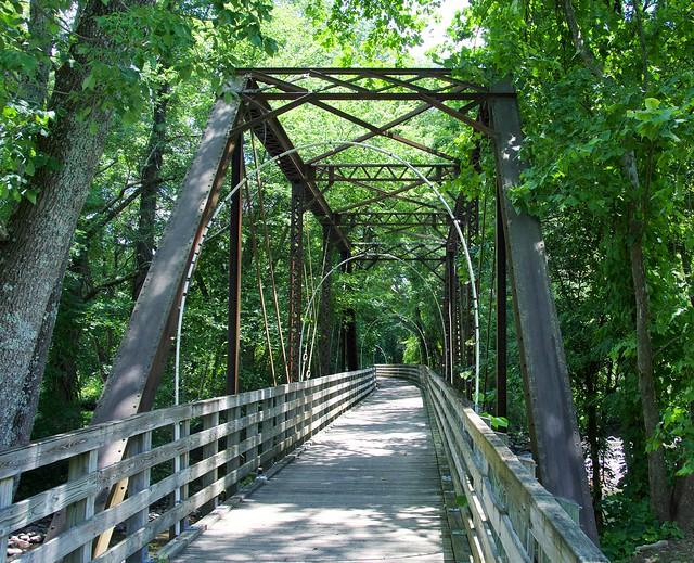 The foot bridge through the railroad bridge