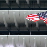 American flag at Preston Bus Station
