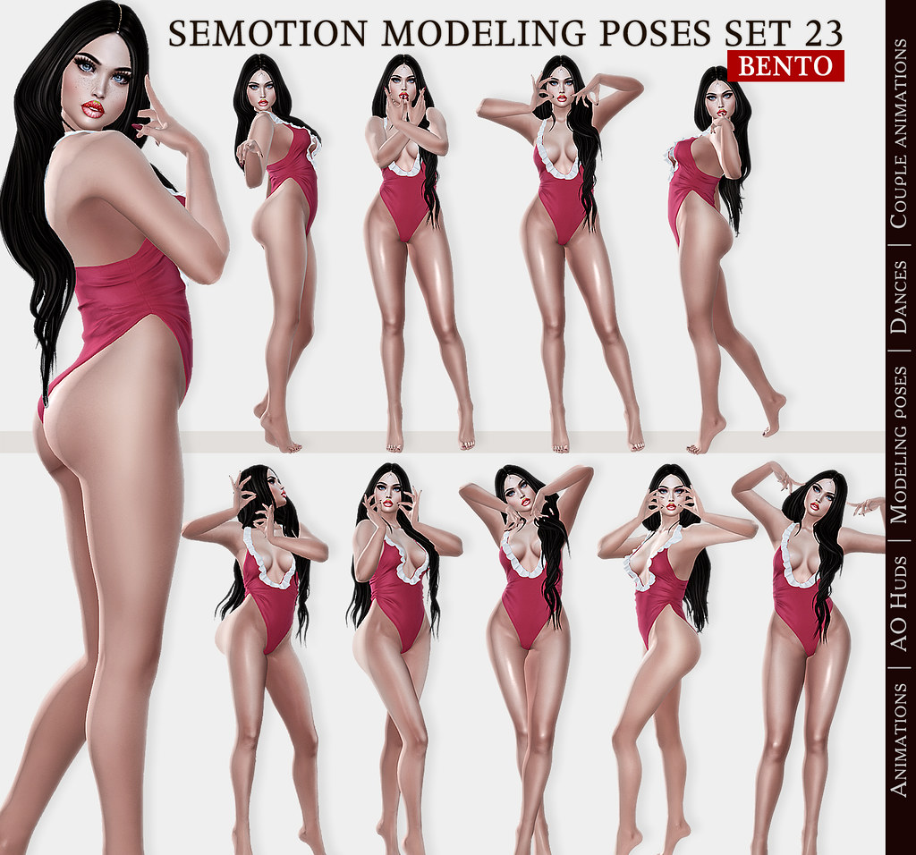 SEmotion Female Bento Modeling poses Set 23 – 10 static poses