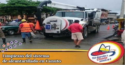 Limpiezas del sistema de alcantarillado en Canuto