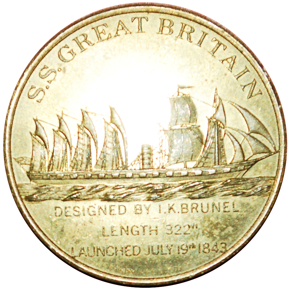 Medal cast in commemoration of the launch of SS Great Britain on July 9, 1843.