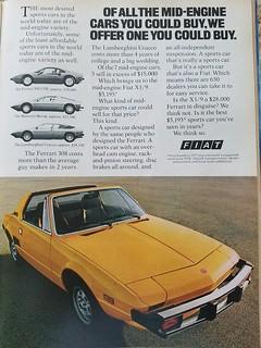Fiat X1/9  -   Magazine Advertisement - 1977