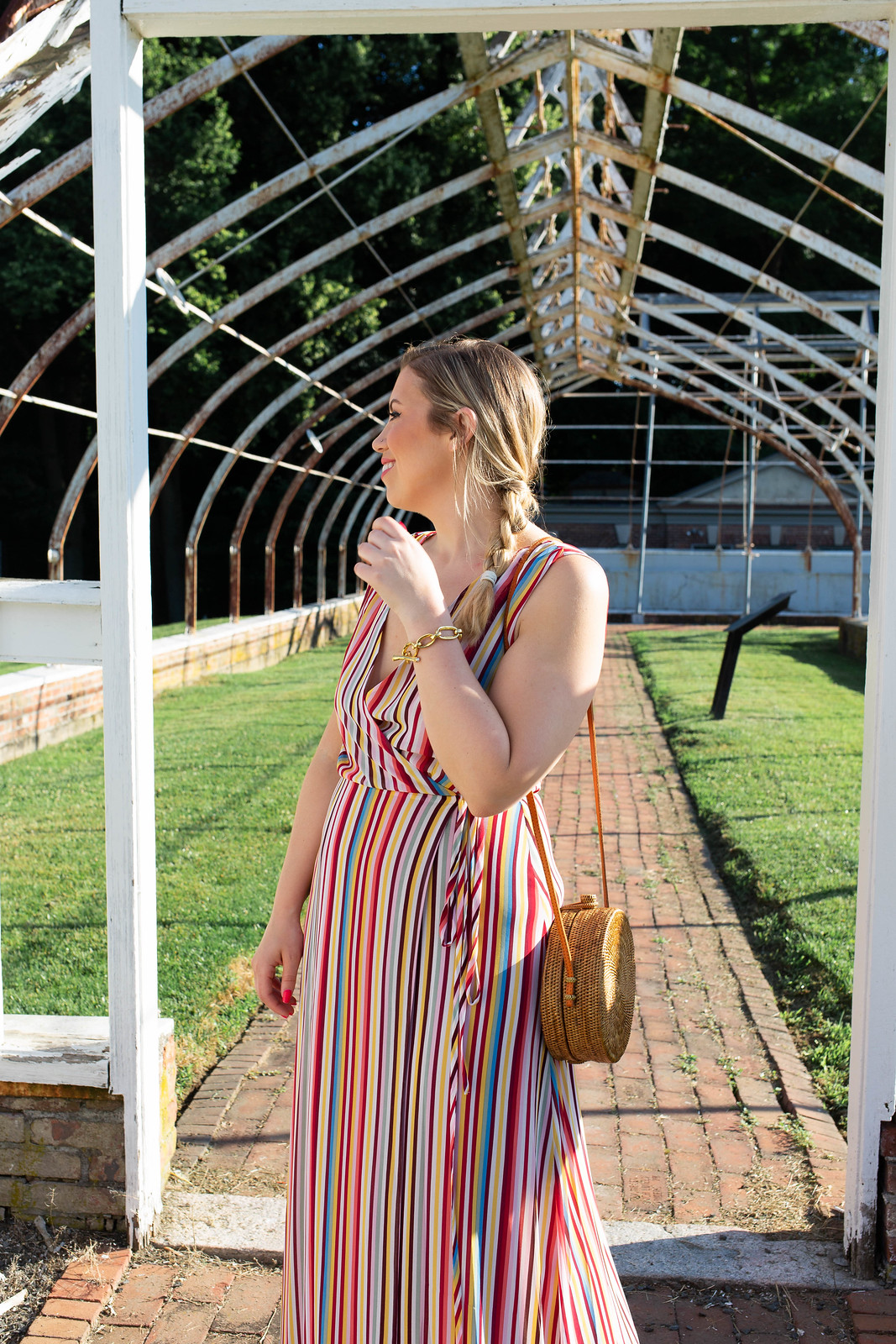 Nordstrom Westchester WAYF Bobby Wrap Maxi Dress Rainbow Stripes Straw Rattan Round Bag Summer Outfit Lyndhurst Mansion Tarrytown NY