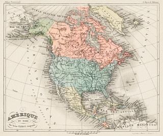 Amerique du Nord from Atlas Universel by Arthème Fayard, pseudonyme F. de la Brugere (1836-1895), published in 1878, vintage cartographic map of the United States of America, Canada and Mexico. Digitally enhanced from our own original plate.
