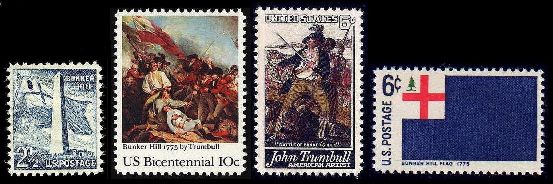 Wikipedia-sourced image portraying (left to right) United States Scott #1034 (1959), Scott #1564 (1975), Scott #1361 (1968) and Scott #1351 (1968).