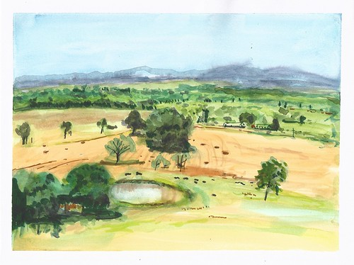 sketch oregon watercolor ankeny landscape trees pleinair